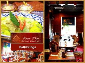 Treat yourself to Dublin's finest Thai Restaurant, Baan Thai Ballsbridge with a Mouth Watering 2 Course A La Carte Dinner plus Tea or Coffee for Two for Only €34.95