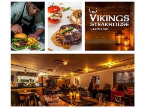 Enjoy a Mouth-Watering 2 Course Meal for Two with Sides & Wine for ONLY €45 in the Critically Acclaimed Vikings Steakhouse, Clontarf!